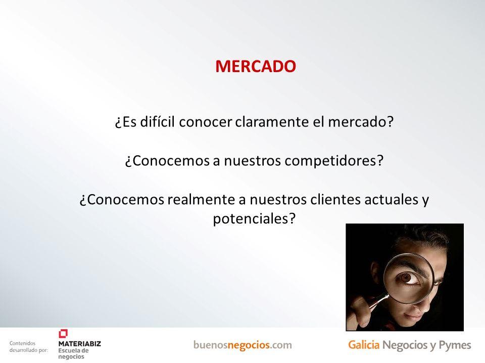 ¿Es difícil conocer claramente el mercado? ¿Conocemos a nuestros competidores? ¿Conocemos realmente a nuestros clientes actuales y potenciales? MERCAD