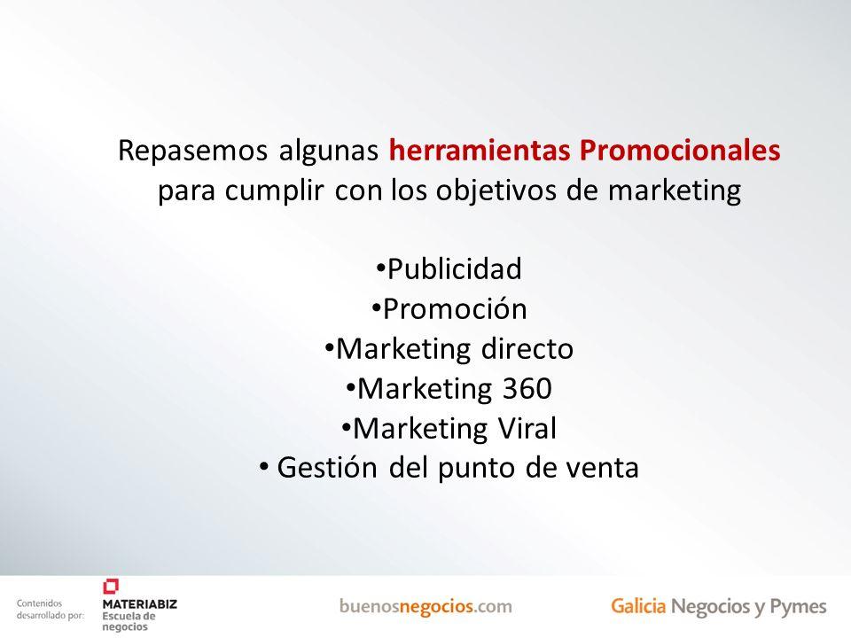 Repasemos algunas herramientas Promocionales para cumplir con los objetivos de marketing Publicidad Promoción Marketing directo Marketing 360 Marketin