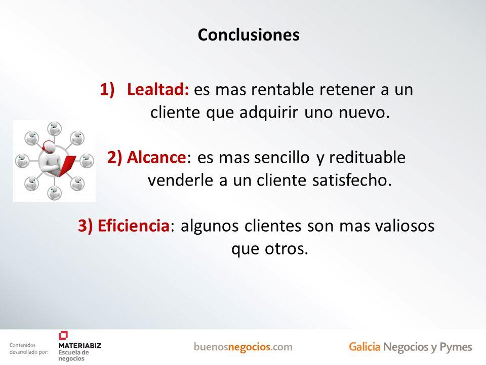 Conclusiones 1)Lealtad: es mas rentable retener a un cliente que adquirir uno nuevo. 2) Alcance: es mas sencillo y redituable venderle a un cliente sa