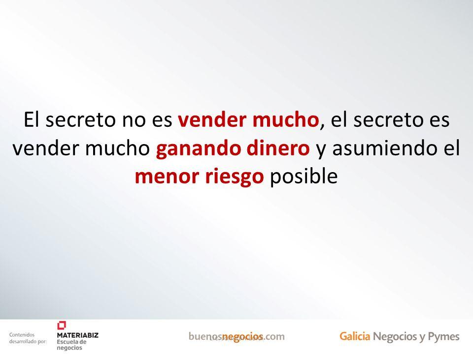 El secreto no es vender mucho, el secreto es vender mucho ganando dinero y asumiendo el menor riesgo posible Lic. Jonatan Loidi