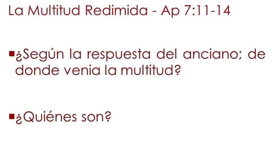La Multitud Redimida - Ap 7:11-14 ¿Según la respuesta del anciano; de donde venia la multitud? ¿Quiénes son?