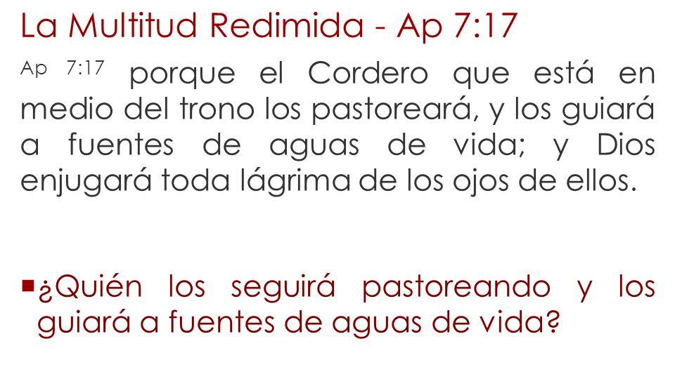 La Multitud Redimida - Ap 7:17 Ap 7:17 porque el Cordero que está en medio del trono los pastoreará, y los guiará a fuentes de aguas de vida; y Dios e
