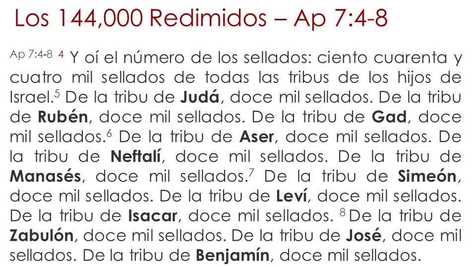 Los 144,000 Redimidos – Ap 7:4-8 Ap 7:4-8 4 Y oí el número de los sellados: ciento cuarenta y cuatro mil sellados de todas las tribus de los hijos de