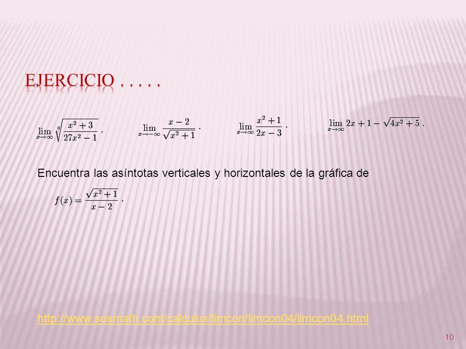 10 Encuentra las asíntotas verticales y horizontales de la gráfica de http://www.sosmath.com/calculus/limcon/limcon04/limcon04.html