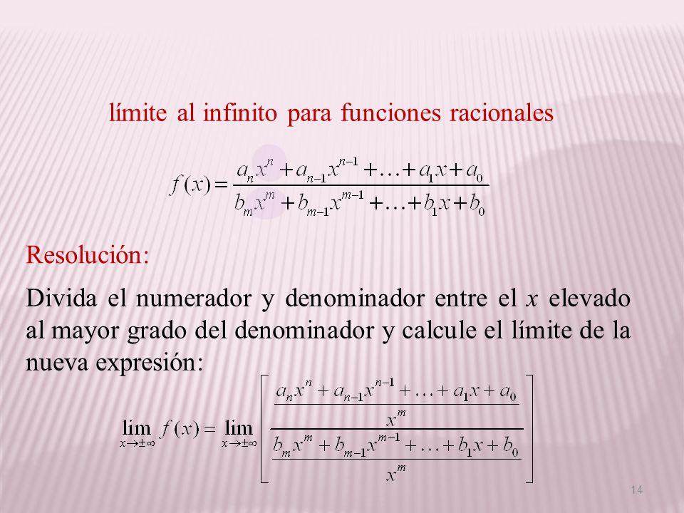 Divida el numerador y denominador entre el x elevado al mayor grado del denominador y calcule el límite de la nueva expresión: Resolución: límite al i