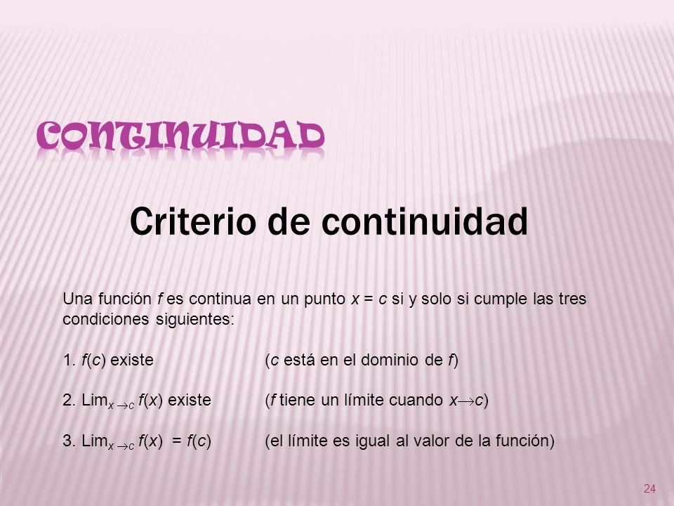 24 Criterio de continuidad Una función f es continua en un punto x = c si y solo si cumple las tres condiciones siguientes: 1. f(c) existe(c está en e