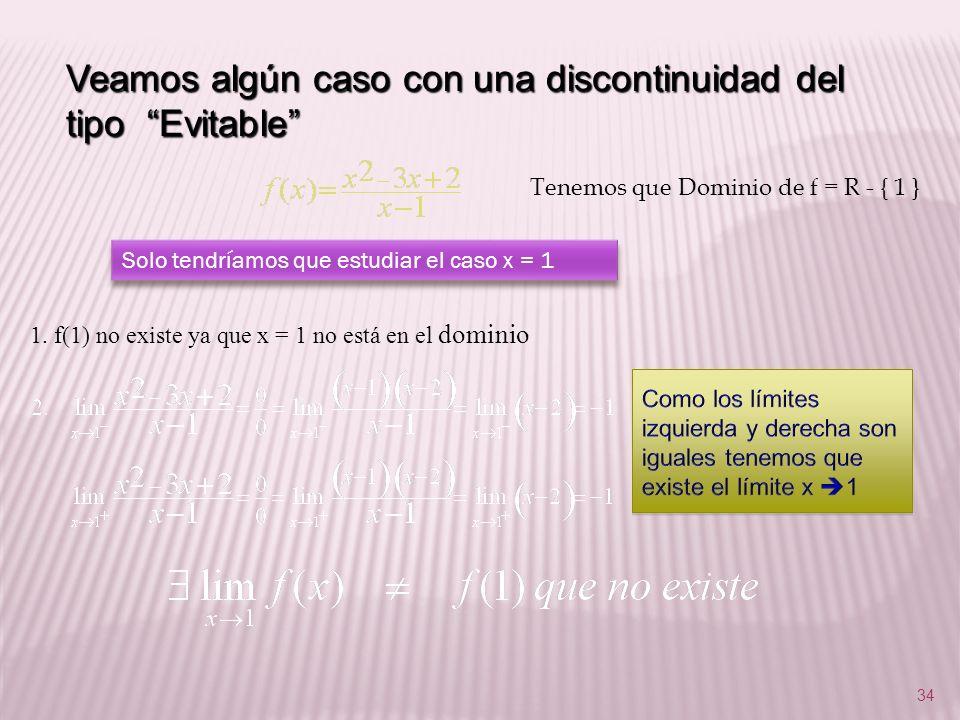 34 Veamos algún caso con una discontinuidad del tipo Evitable Tenemos que Dominio de f = R - { 1 } Solo tendríamos que estudiar el caso x = 1 1. f(1)