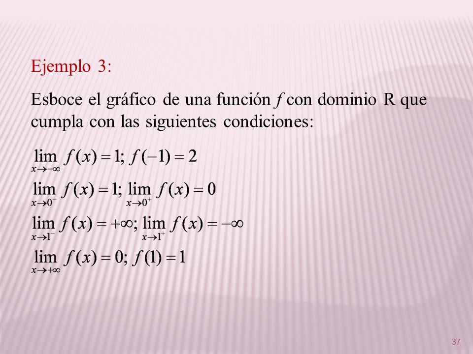 37 Esboce el gráfico de una función f con dominio R que cumpla con las siguientes condiciones: Ejemplo 3: