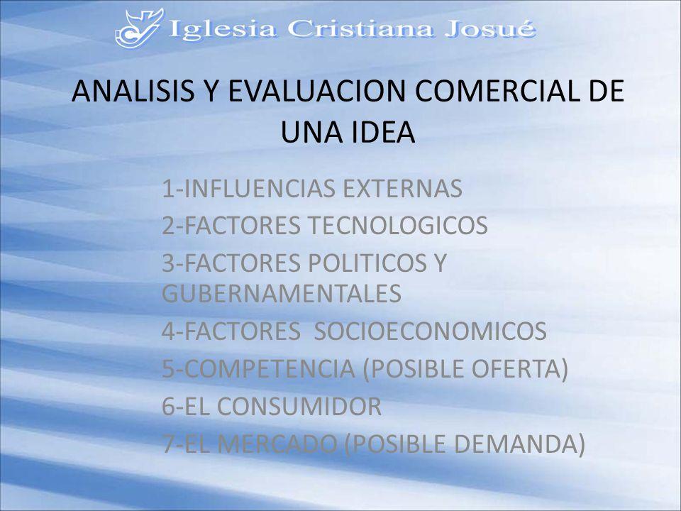 ANALISIS Y EVALUACION COMERCIAL DE UNA IDEA 1-INFLUENCIAS EXTERNAS 2-FACTORES TECNOLOGICOS 3-FACTORES POLITICOS Y GUBERNAMENTALES 4-FACTORES SOCIOECONOMICOS 5-COMPETENCIA (POSIBLE OFERTA) 6-EL CONSUMIDOR 7-EL MERCADO (POSIBLE DEMANDA)