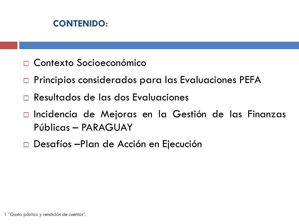 CONTENIDO: Contexto Socioeconómico Principios considerados para las Evaluaciones PEFA Resultados de las dos Evaluaciones Incidencia de Mejoras en la G