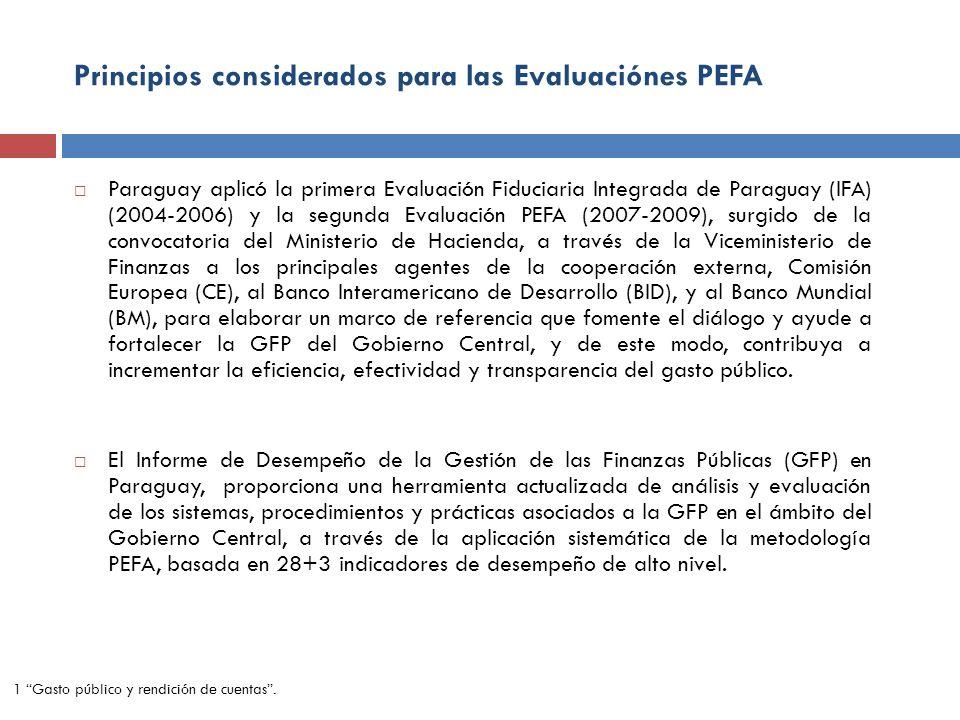 Principios considerados para las Evaluaciónes PEFA Paraguay aplicó la primera Evaluación Fiduciaria Integrada de Paraguay (IFA) (2004-2006) y la segun