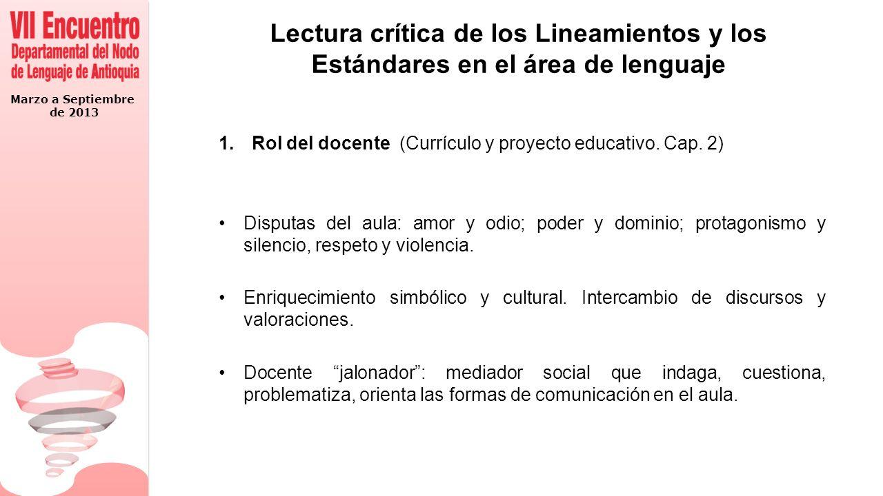 Marzo a Septiembre de 2013 Lectura crítica de los Lineamientos y los Estándares en el área de lenguaje 1.Rol del docente (Currículo y proyecto educativo.