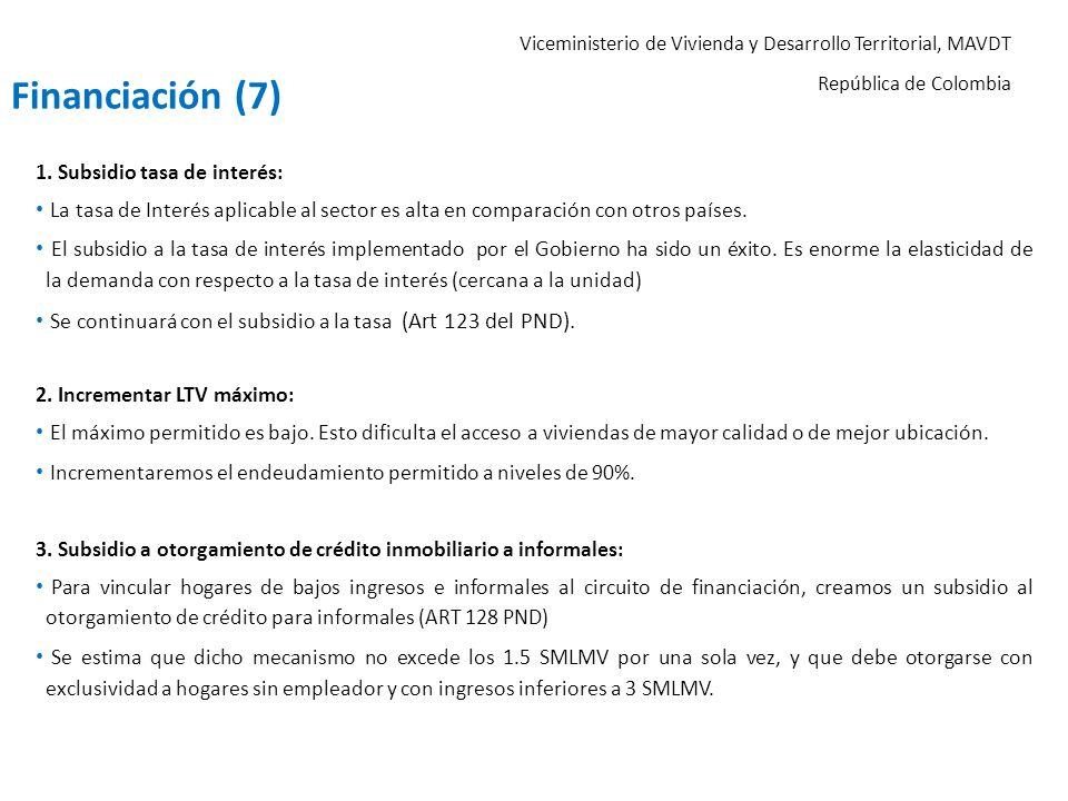 Viceministerio de Vivienda y Desarrollo Territorial, MAVDT República de Colombia 1. Subsidio tasa de interés: La tasa de Interés aplicable al sector e