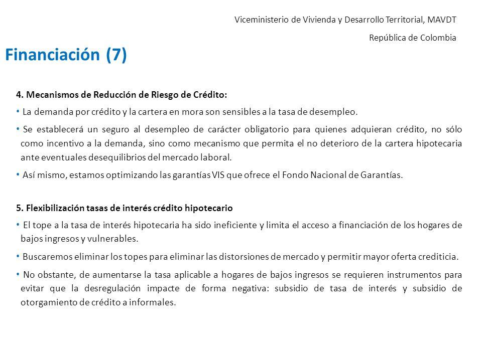 Viceministerio de Vivienda y Desarrollo Territorial, MAVDT República de Colombia 4. Mecanismos de Reducción de Riesgo de Crédito: La demanda por crédi