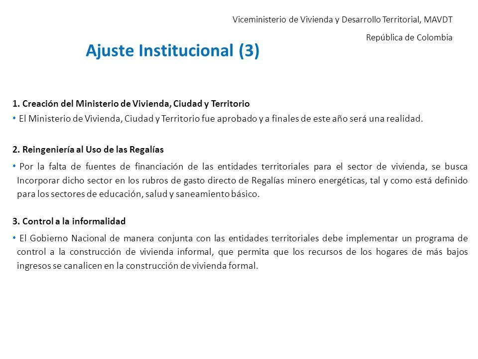 Viceministerio de Vivienda y Desarrollo Territorial, MAVDT República de Colombia 1. Creación del Ministerio de Vivienda, Ciudad y Territorio El Minist