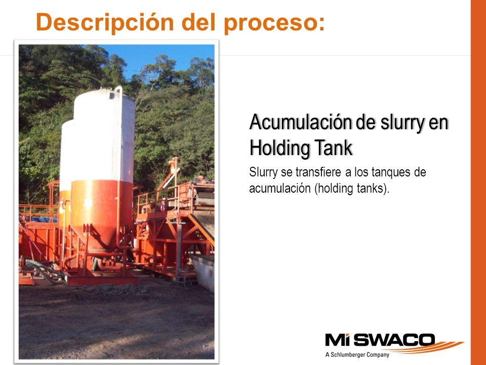Descripción del proceso: Acumulación de slurry en Holding Tank Slurry se transfiere a los tanques de acumulación (holding tanks).