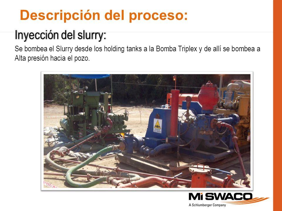 Descripción del proceso: Inyección del slurry:Inyección del slurry: Se bombea el Slurry desde los holding tanks a la Bomba Triplex y de allí se bombea
