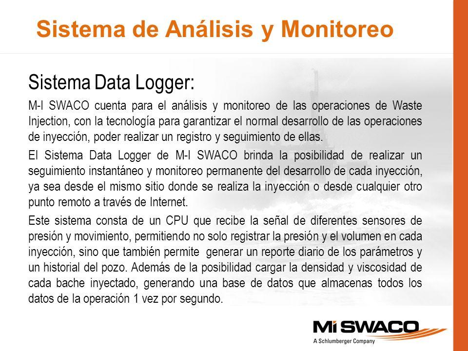 Sistema de Análisis y Monitoreo Sistema Data Logger: M-I SWACO cuenta para el análisis y monitoreo de las operaciones de Waste Injection, con la tecno