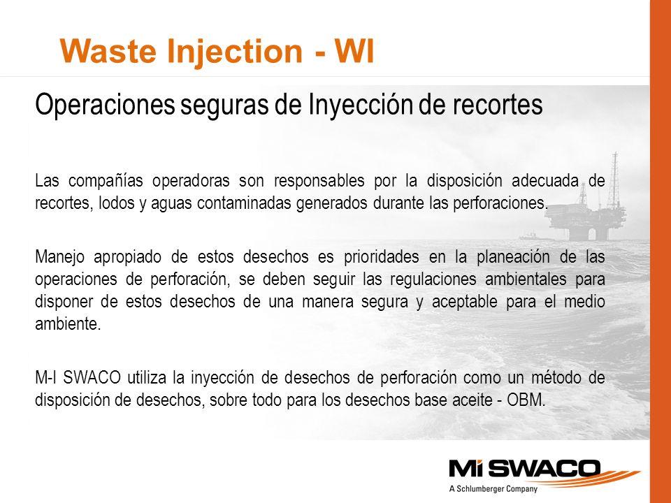 Waste Injection - WI Operaciones seguras de Inyección de recortes Las compañías operadoras son responsables por la disposición adecuada de recortes, l
