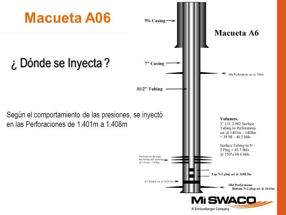 Macueta A06 Según el comportamiento de las presiones, se inyectó en las Perforaciones de 1.401m a 1.408m ¿ Dónde se Inyecta ?¿ Dónde se Inyecta ?