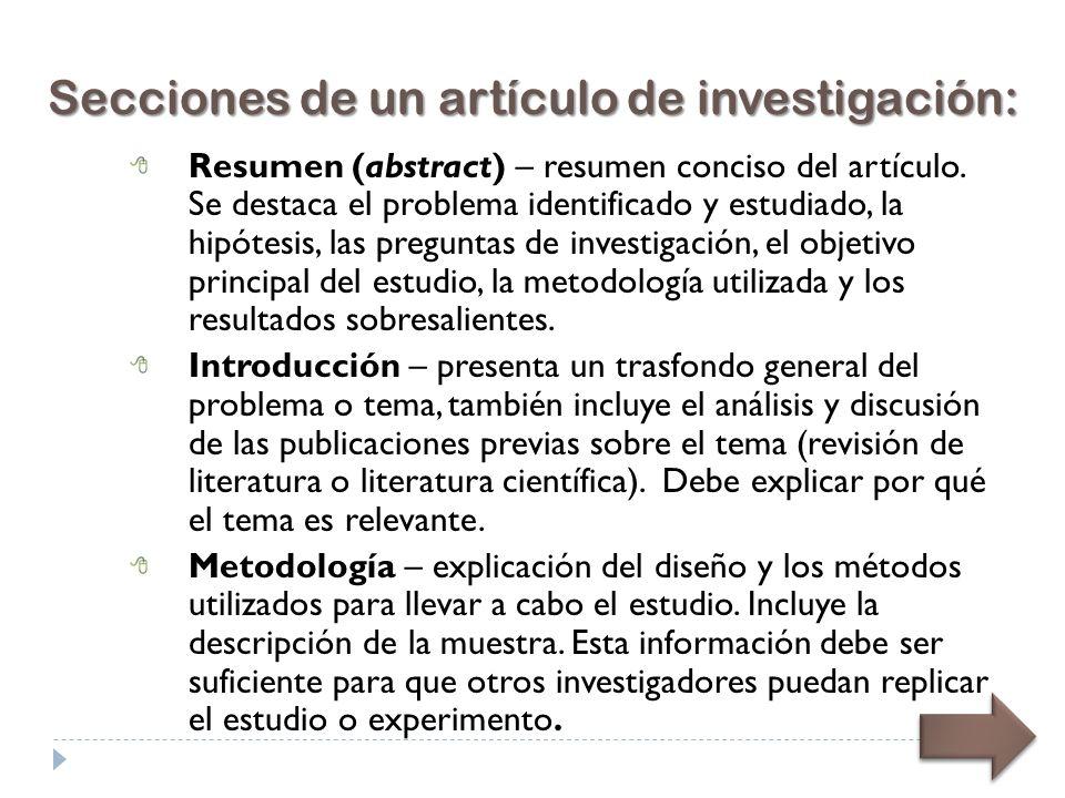 Resumen (abstract) – resumen conciso del artículo.