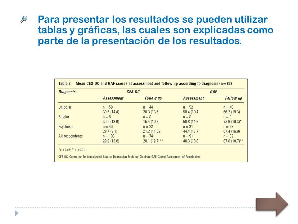 Para presentar los resultados se pueden utilizar tablas y gráficas, las cuales son explicadas como parte de la presentación de los resultados.