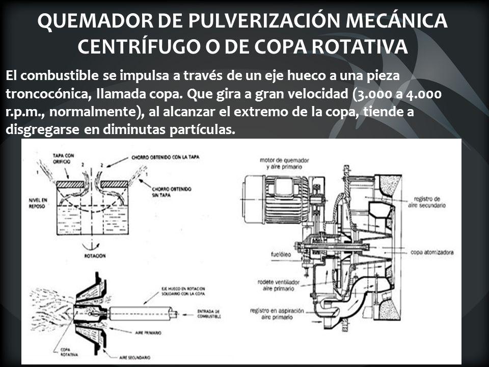 QUEMADOR DE PULVERIZACIÓN MECÁNICA CENTRÍFUGO O DE COPA ROTATIVA El combustible se impulsa a través de un eje hueco a una pieza troncocónica, llamada