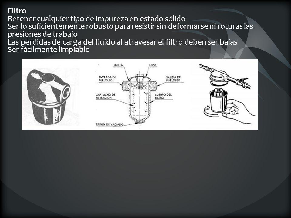 Filtro Retener cualquier tipo de impureza en estado sólido Ser lo suficientemente robusto para resistir sin deformarse ni roturas las presiones de tra