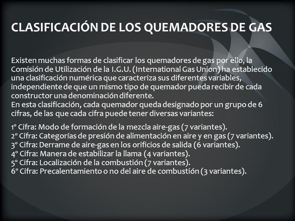 CLASIFICACIÓN DE LOS QUEMADORES DE GAS Existen muchas formas de clasificar los quemadores de gas por ello, la Comisión de Utilización de la I.G.U. (In