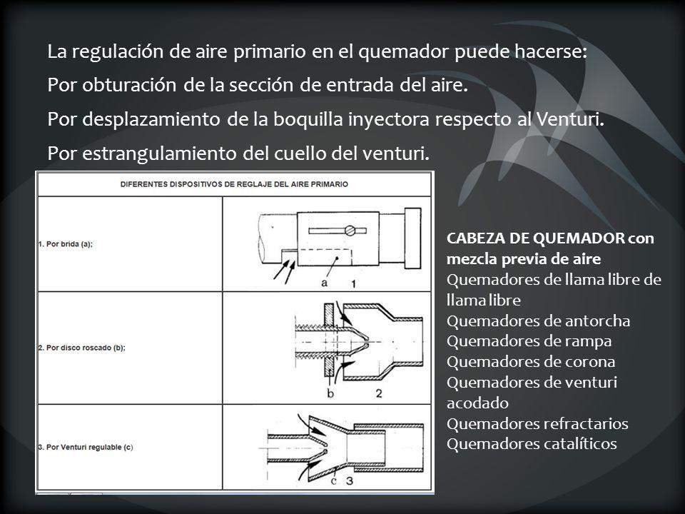 La regulación de aire primario en el quemador puede hacerse: Por obturación de la sección de entrada del aire. Por desplazamiento de la boquilla inyec