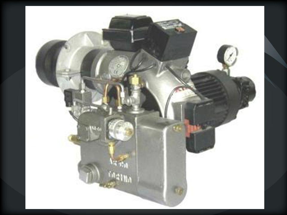 QUEMADORES DE PULVERIZACIÓN POR FLUIDO AUXILIAR La energía que se precisa para atomizar el combustible la aporta el fluido auxiliar: Aire o neumática (Viscosidad del combustible 3 - 5º E a 50 ºC) Baja presión (0,1 a 0,5 atm) Media presión (0,1 a 1,5 atm) Alta presión (0,5 a 7 atm) Vapor de agua (Viscosidad del combustible 5 - 8º E a 50ºC)