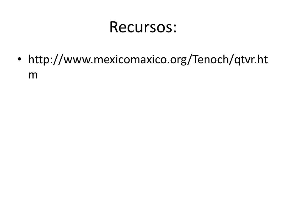 Recursos: http://www.mexicomaxico.org/Tenoch/qtvr.ht m