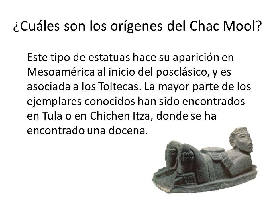 ¿Cuáles son los orígenes del Chac Mool? Este tipo de estatuas hace su aparición en Mesoamérica al inicio del posclásico, y es asociada a los Toltecas.