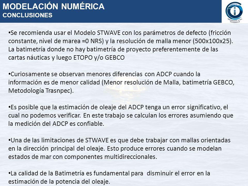 Se recomienda usar el Modelo STWAVE con los parámetros de defecto (fricción constante, nivel de marea =0 NRS) y la resolución de malla menor (500x100x