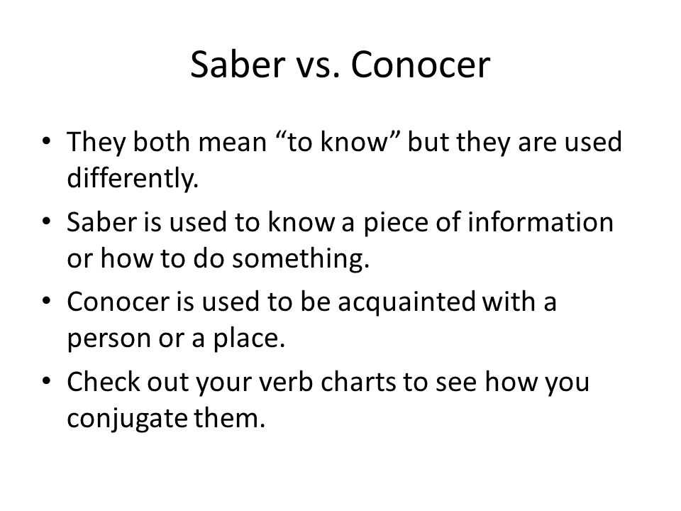 Saber vs. Conocer They both mean to know but they are used differently.