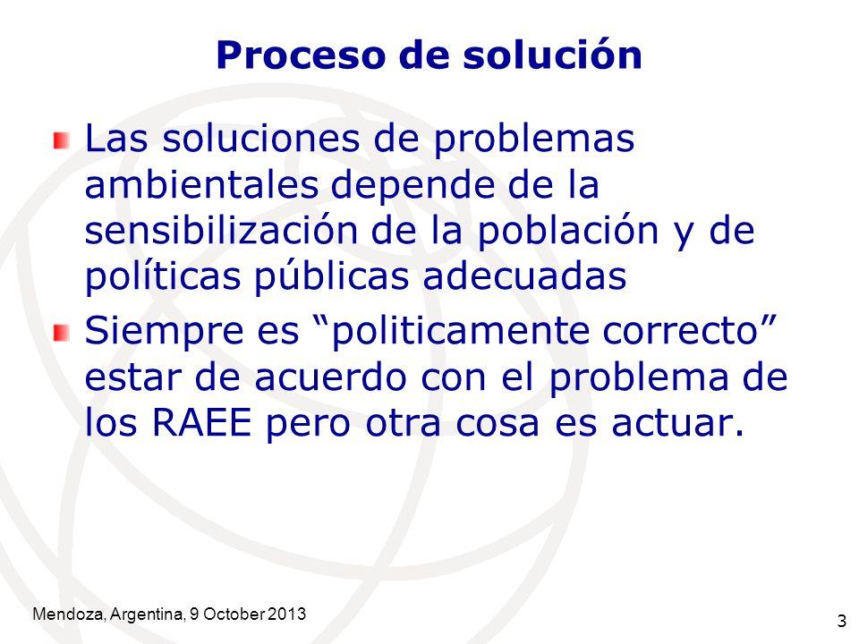 3 Proceso de solución Las soluciones de problemas ambientales depende de la sensibilización de la población y de políticas públicas adecuadas Siempre es politicamente correcto estar de acuerdo con el problema de los RAEE pero otra cosa es actuar.