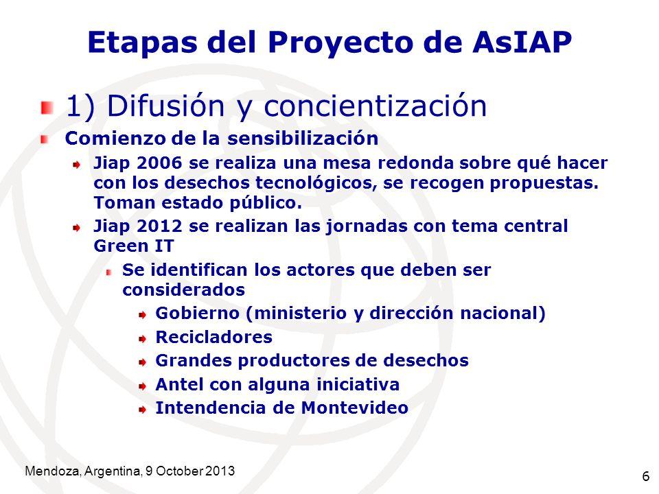 6 Etapas del Proyecto de AsIAP 1) Difusión y concientización Comienzo de la sensibilización Jiap 2006 se realiza una mesa redonda sobre qué hacer con los desechos tecnológicos, se recogen propuestas.