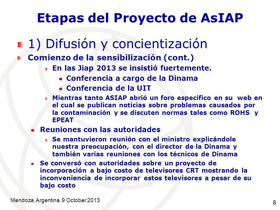 8 Etapas del Proyecto de AsIAP 1) Difusión y concientización Comienzo de la sensibilización (cont.) En las Jiap 2013 se insistió fuertemente.