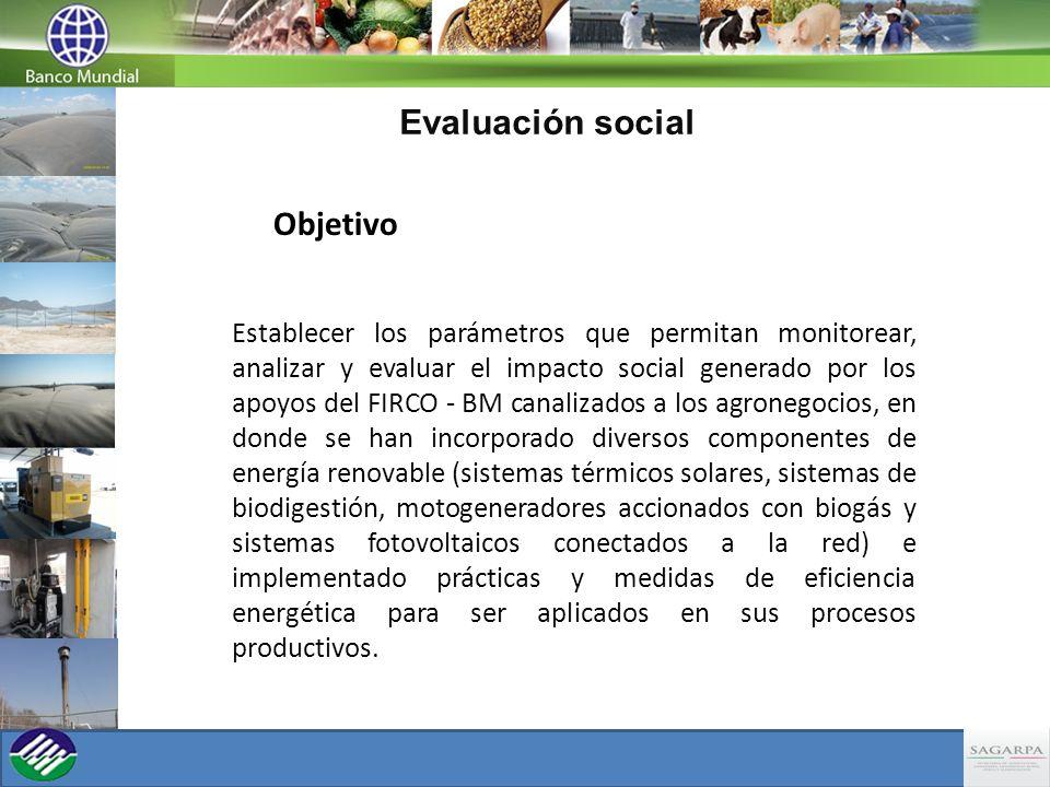 Evaluación social Objetivo Establecer los parámetros que permitan monitorear, analizar y evaluar el impacto social generado por los apoyos del FIRCO -