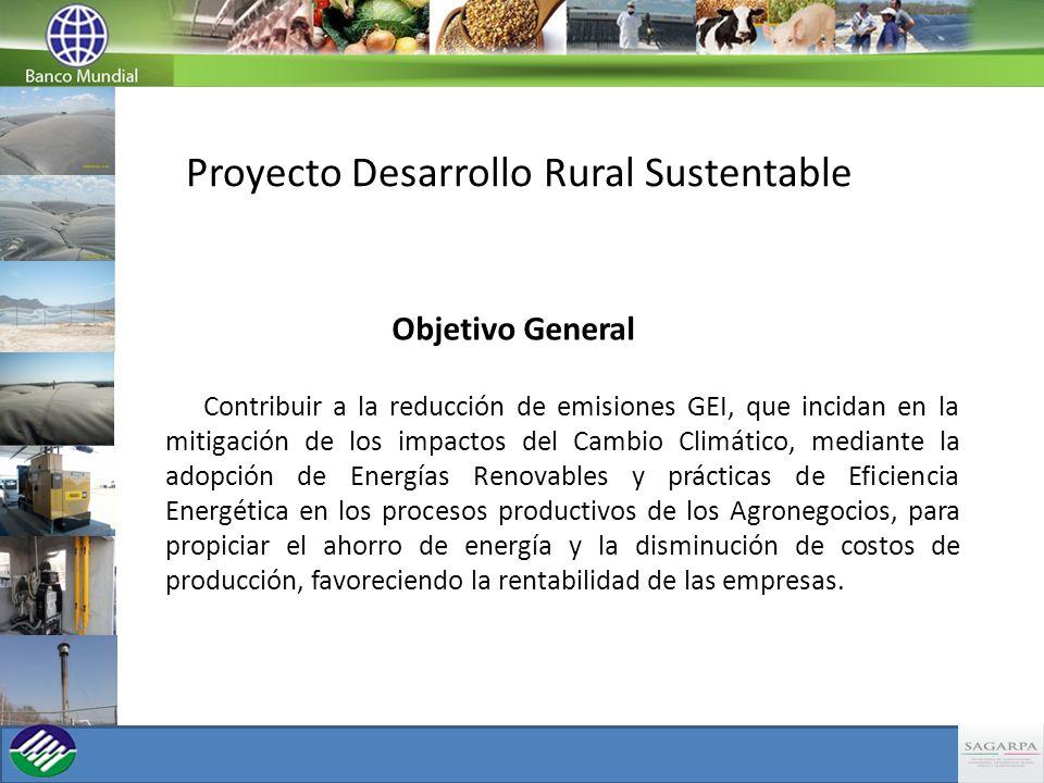 Proyecto Desarrollo Rural Sustentable Objetivo General Contribuir a la reducción de emisiones GEI, que incidan en la mitigación de los impactos del Ca