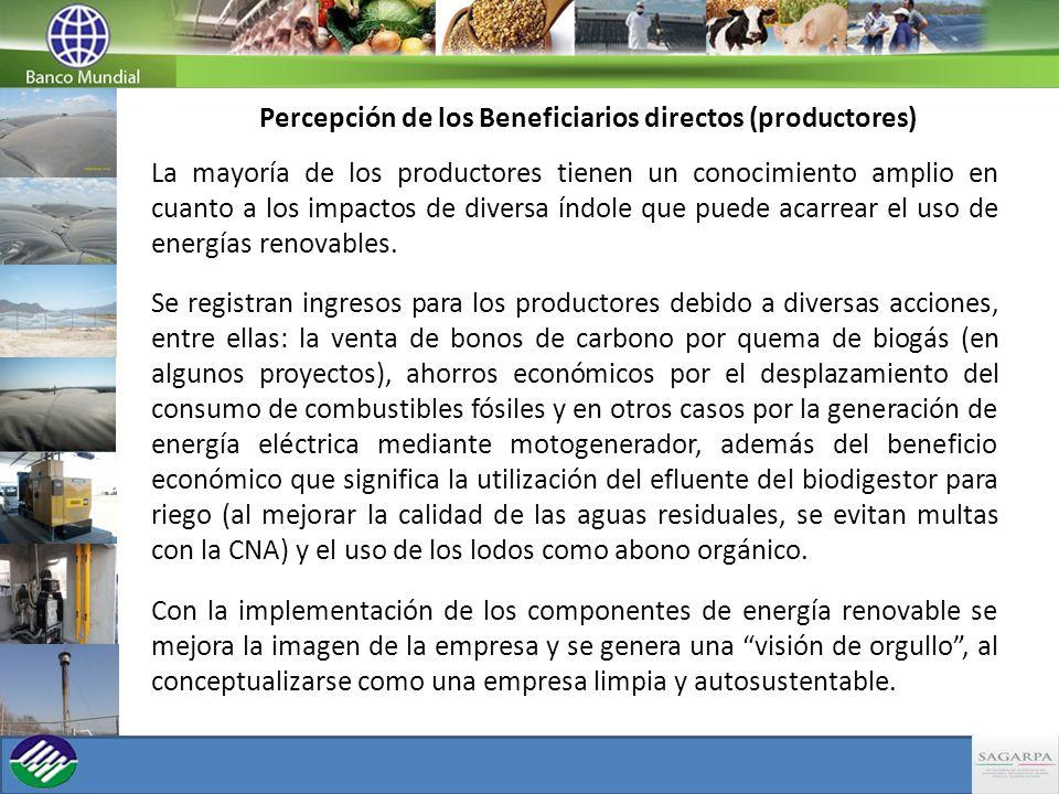 Percepción de los Beneficiarios directos (productores) La mayoría de los productores tienen un conocimiento amplio en cuanto a los impactos de diversa