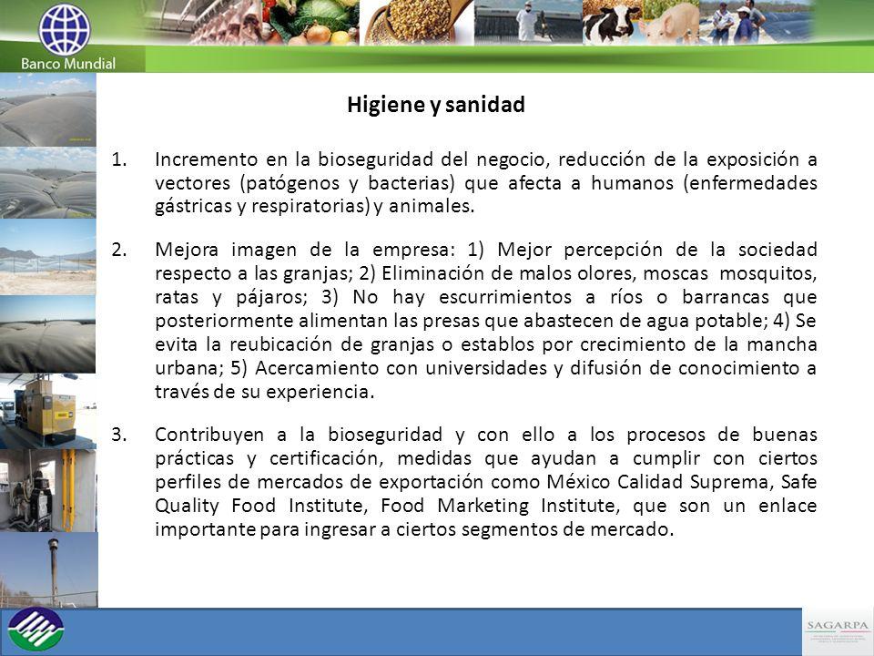 Higiene y sanidad 1.Incremento en la bioseguridad del negocio, reducción de la exposición a vectores (patógenos y bacterias) que afecta a humanos (enf