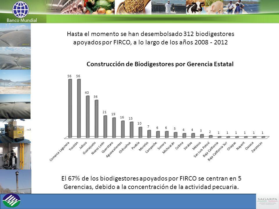 Hasta el momento se han desembolsado 312 biodigestores apoyados por FIRCO, a lo largo de los años 2008 - 2012 El 67% de los biodigestores apoyados por