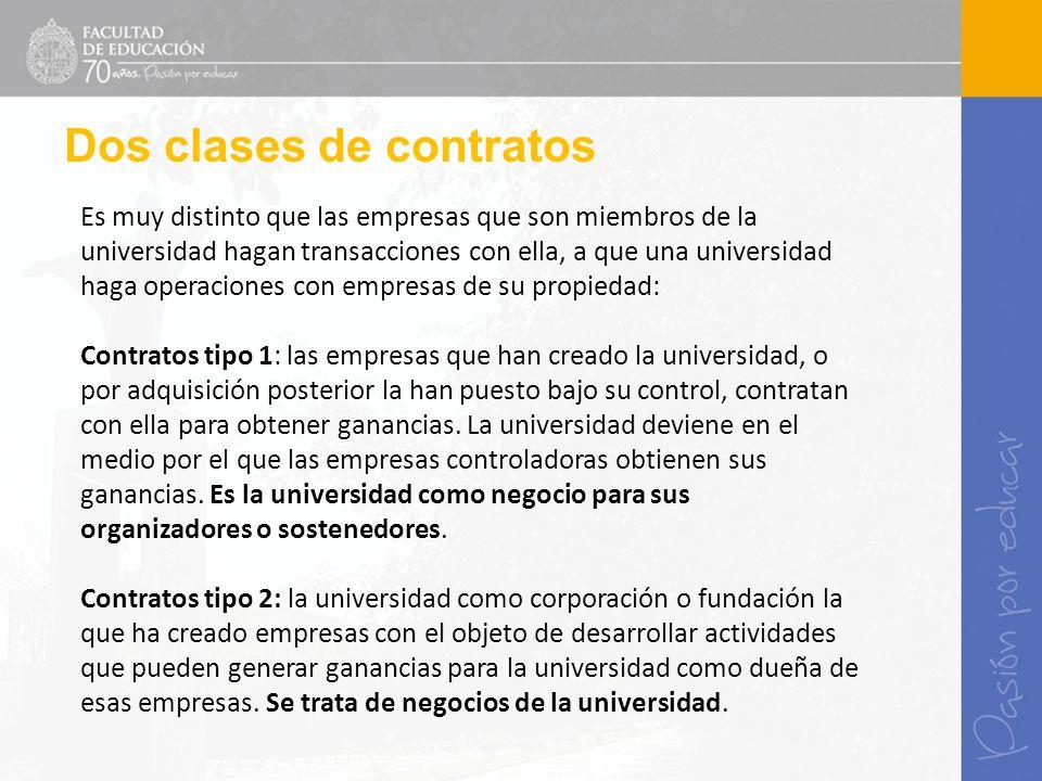 Es muy distinto que las empresas que son miembros de la universidad hagan transacciones con ella, a que una universidad haga operaciones con empresas