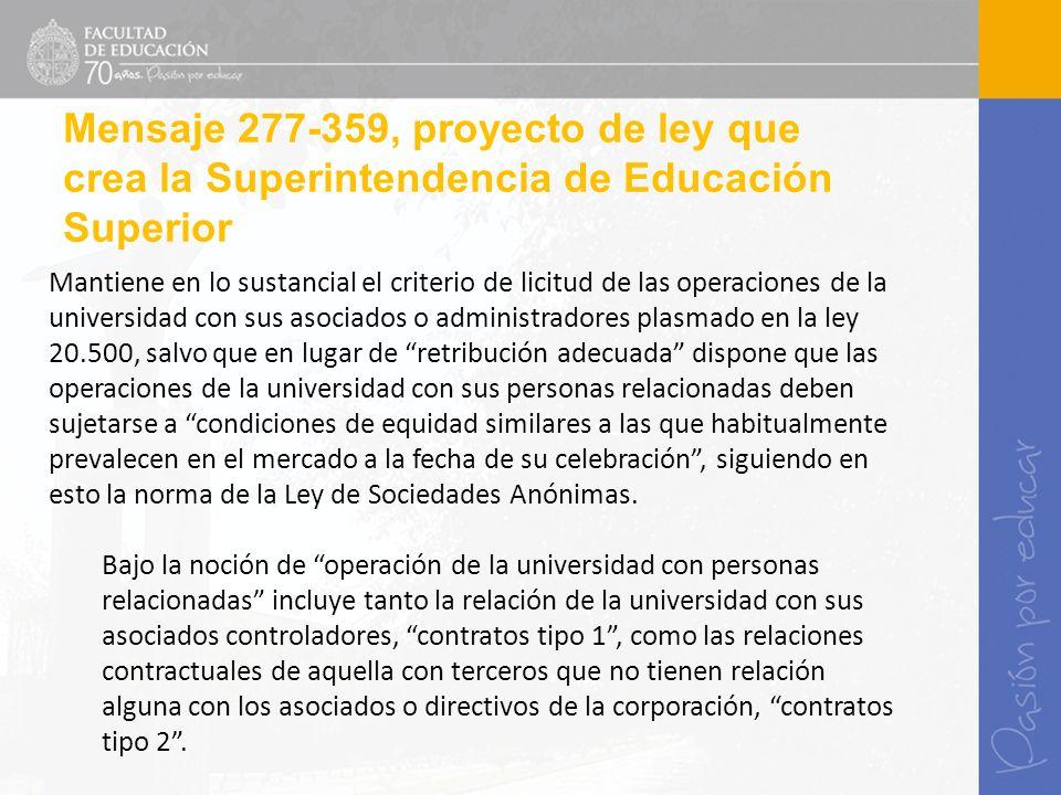 Mantiene en lo sustancial el criterio de licitud de las operaciones de la universidad con sus asociados o administradores plasmado en la ley 20.500, s