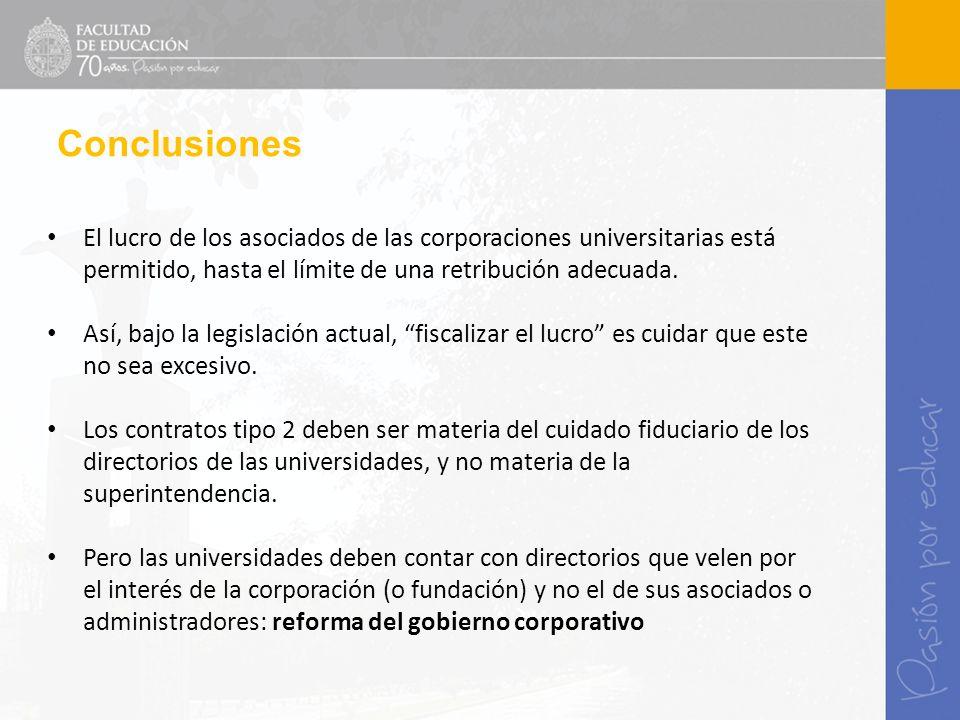Conclusiones El lucro de los asociados de las corporaciones universitarias está permitido, hasta el límite de una retribución adecuada. Así, bajo la l