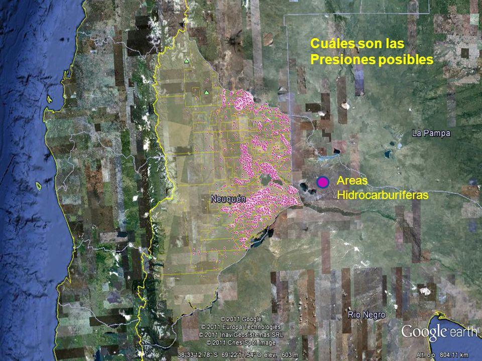 Cuáles son las Presiones posibles Areas Hidrocarburíferas