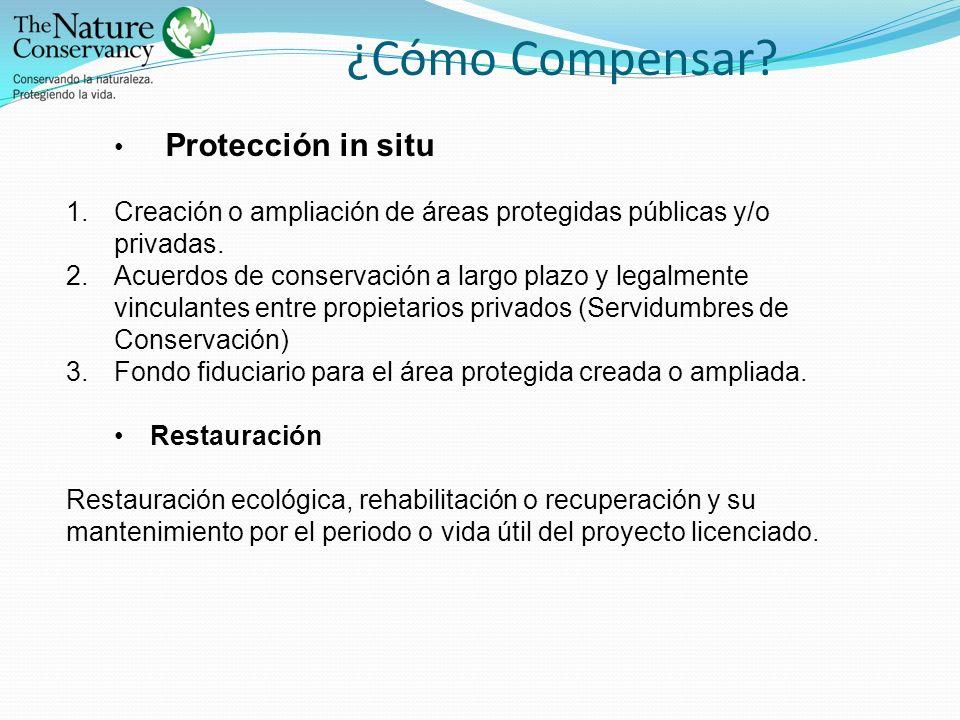 ¿Cómo Compensar? Protección in situ 1.Creación o ampliación de áreas protegidas públicas y/o privadas. 2.Acuerdos de conservación a largo plazo y lega