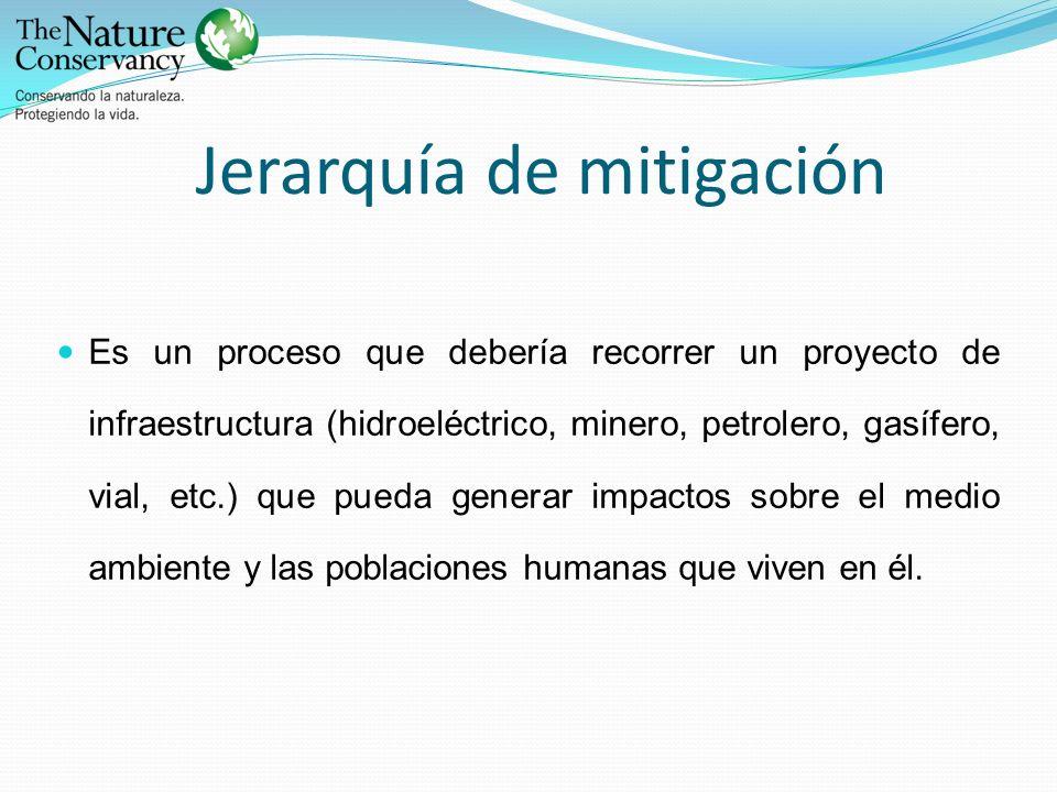 Jerarquía de mitigación Es un proceso que debería recorrer un proyecto de infraestructura (hidroeléctrico, minero, petrolero, gasífero, vial, etc.) qu