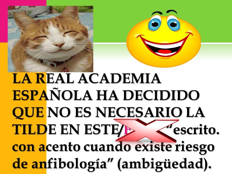 LA REAL ACADEMIA ESPAÑOLA HA DECIDIDO QUE NO ES NECESARIO LA TILDE EN ESTE/ÉSTE. escrito. con acento cuando existe riesgo de anfibología (ambigüedad).